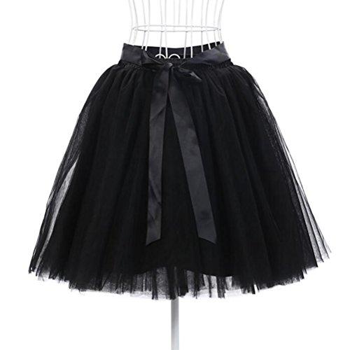 Oudan Jupe Ballet Tutu en Tulle Jupe Courte Style Annes 50 Couleurs Varies pour Femmes Filles avec N?ud  Deux Boucles Noir