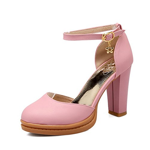 AmoonyFashion Womens Buckle High Heels Pu Solid Round Closed Toe Pumps Shoes Pink Ce8xtu