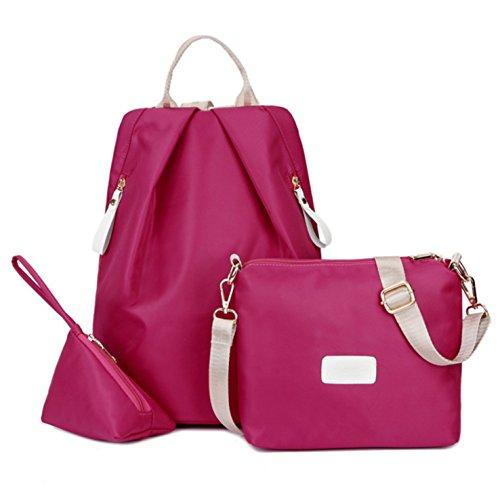 (3pcs) HeHe Mochila De Ligero Impermeable Nylon Bolsa De Hombro Bolsa De Mensajero Bolso cross body bag y monedero Rosa roja