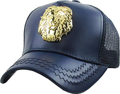 KBVT-Lion NAV Lion Gold Emblem Trucker Cap Adjustable Snapback Hat