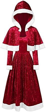 Dainzuy Womens Christmas Dress Velvet Long Sleeve O-Neck Dress and Hooded Cape Christmas Halloween Costumes