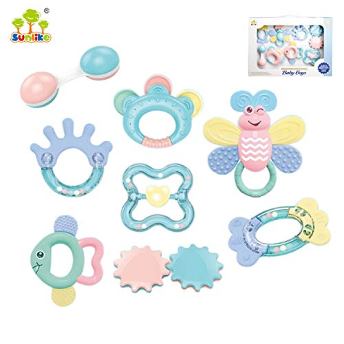 (8PCS Baby Teethers Set, Rattles, Grasping Grab Toy, Spin Shaking Bell, Sensory Teether Rattle, for Infant, Newborn Baby)