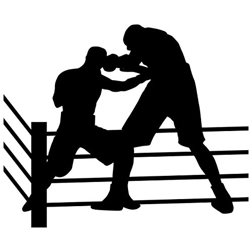 TheVinylGuru Boxing Wall Decal Sticker 2 - Decal Stickers and Mural for Kids Boys Girls Room and Bedroom. Sport Wall Art for Home Decor and Decoration - Boxer Silhouette Mural
