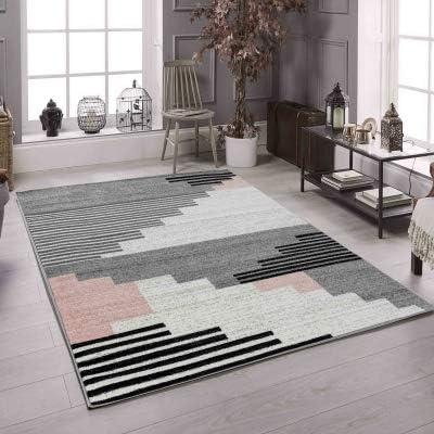 Koton Pinta Tapis de Salon Contemporain (Noir, Gris, Blanc, Rose, 120 x 160  cm)