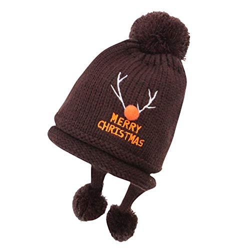Fawn Beanie - Vacally Unisex Christmas Fawn Knit Beanie Winter Warm Baby Acrylic Hats Pom Cap