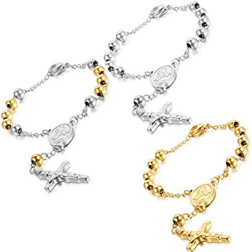 (Flongo Men's Womens 3pcs Vintage Stainless Steel Jesus Crucifix Cross Rosary Bead Prayer Link Wrist Bracelet, 8.6 inch, Jesus Christ Crucifix Rosary Bracelet Wristband, Prayer Religious Cross Bangle)