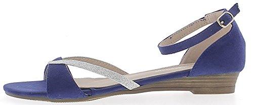 Sandales compensées bleues à talonnette de 0,5cm look daim et strass