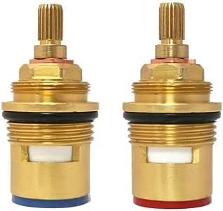 ownace Repuesto para baño 2pcs Par 3/4cartucho de disco de cerámica de válvula de grifo grifo mezclador de interior de cuarto de vuelta