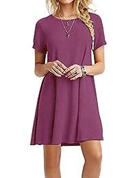 Women's Casual Plain Short Sleeve Simple T-Shirt Loose Dress