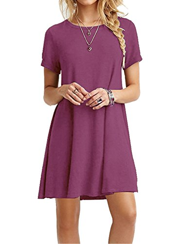MOLERANI Women's Casual Plain Simple T-Shirt Loose Dress Mauve L