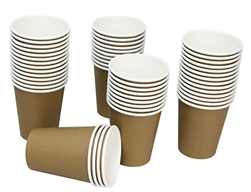 Brown Paper Cups (Hot Party Paper Cups, 8 Ounce, 50 Count, Multiple Colors)