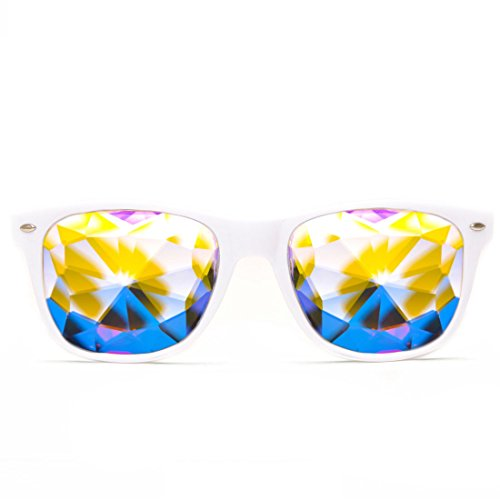GloFX Ultimate Kaleidoscope Glasses - White - Rainbow EDM Rave Light Diffraction Eyewear (White)