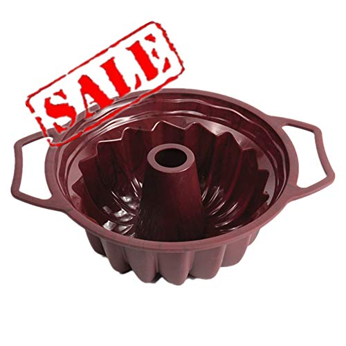 (KeepingcooX Premium Non-Stick 10-Inch Fluted Tube Pan - Silicone Kugelhopf Bundt Pan with Handles, Classical Shape For baking Chiffon Cake, Sturdy Steel Frame)