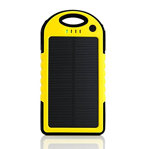 GEARONIC TM 5000mAh Portable Shockproof Waterproof Solar Charger Battery Panal Double USB Power Bank for Cell Phone MP3- Yellow