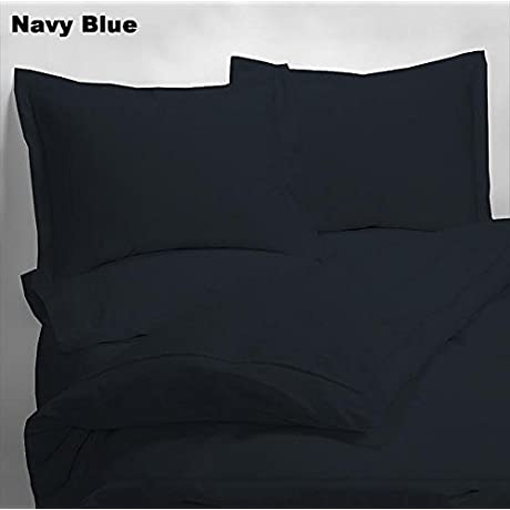 Luxury 600 Thread Counts 7pc Bed In A Bag Standrad Bunk Size Navy Blue Solid 100 Egyptian Cotton By PARADISEHOUSE