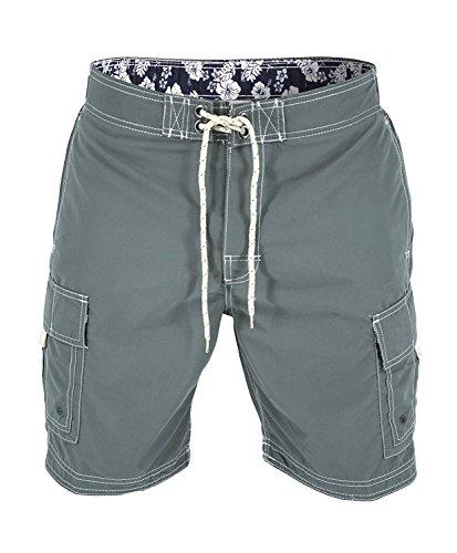 US Apparel Men's Solid Color Cargo Style Microfiber Board Shorts Grey ()
