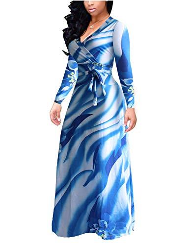 Akmipoem Women's Plus Size Floral Print Faux Wrap Long Sleeve Tie Waist Boho Maxi Dress,Blue,L