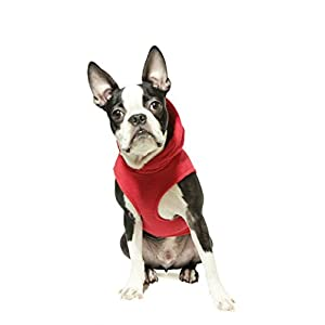 Gooby Every Day Fleece Cold Weather Dog Vest with Hoodie for Small Dogs, Red, X-Large