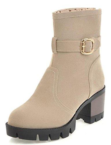 Mid Heels Women's Faux Suede Retro Beige Platform Boots Chunky Ankle Aisun 0qUzdz