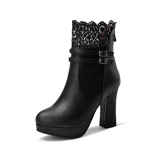 1TO9 Girls Chunky Heels Lace Buckle Cow Imitated Suede Boots