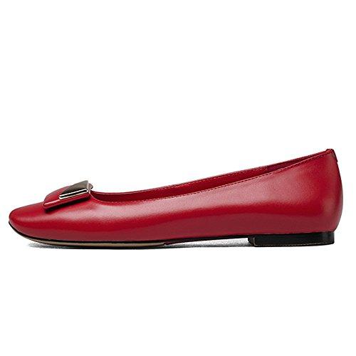 Nine Seven Genuine Leather Womens Square Toe Sinple Comfort Handmade Flats Shoes Red uL0Gl