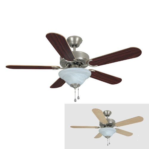 Hardware House 17-5630 Wyndham Series Satin Nickel 42-Inch Triple Mount Ceiling Fan, Cherry or Light (5630 Series)