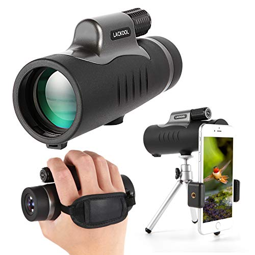 10x42 HD Monocular Telescope with Hand Strap Smartphone Holder & Tripod IPX7 Waterproof Starscope for Bird Watching Hunting Camping Travelling Wildlife Secenery for Adults Kids