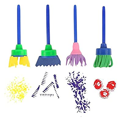 Aisheny Washable Paint Brushes Set for Toddler Kids Early Learning Toys Finger Paints Sponges with Long Sleeve Waterproof Aprons Art Supplies Gifts Non-Toxic 31 Pack: Arts, Crafts & Sewing