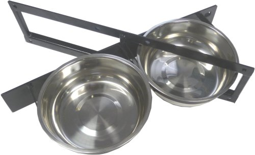 Lucky Dog Stainless Steel Double Rotating Food & Water Pet Bowls (21in. x 8in. X 5in.) ()