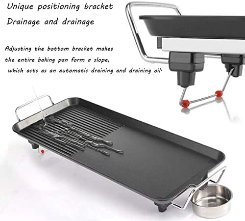 Gril électrique Teppanyaki, plaque chauffante antiadhésive à température ajustable, barbecue à plaque chauffante pour barbecue - 2 anneaux inclus pour l'intérieur et l'extérieur