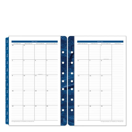 Classic Monticello Two Page Monthly Ring-bound Tabs - Jul 2017 - Jun 2018 (Monticello Monthly Planner Refills)