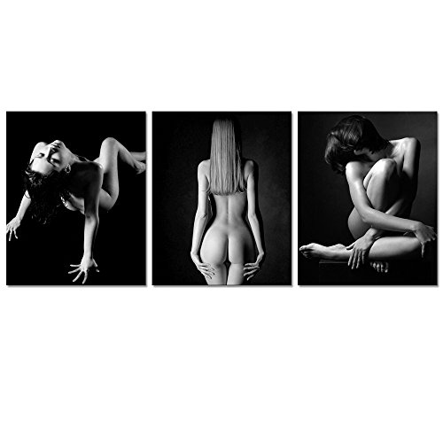 """Sexy Nude Woman Canvas Prints For Bedroom Wall Decor,Naked Girl Body Art Painting Printed on Canvas,Framed and Stretched,Ready to Hang,Sexy Lady Wall Art (16""""x20""""x3pcs)"""