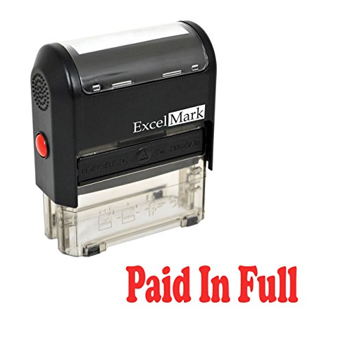 PAID IN FULL Self Inking Rubber Stamp - Red Ink