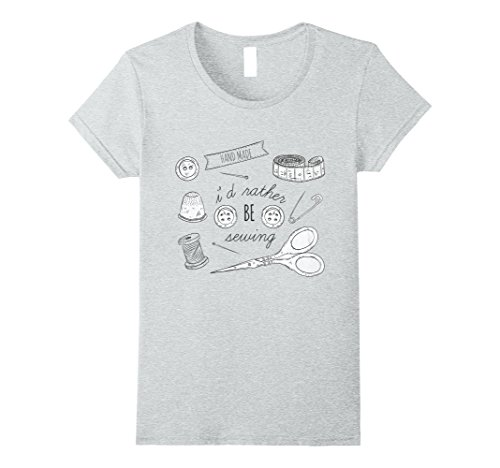 Womens I'd Rather Be Sewing T-Shirt Hand Made Large Heather Grey