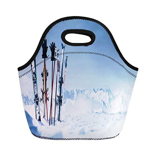 Snowboard Equipment Rentals - Semtomn Neoprene Lunch Tote Bag Snowboard Skis in the Snow Equipment Rental Austria Winter Pitztal Reusable Cooler Bags Insulated Thermal Picnic Handbag for Travel,School,Outdoors, Work