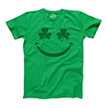 Youth Shamrock Smiley Tshirt Cute Funny St Patricks Day Parade Tee For Kids -L