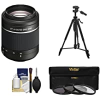 Sony Alpha DT 55-200mm f/4-5.6 SAM Zoom Lens with Tripod + 3 UV/ND8/CPL Filter Set + Cleaning Kit for A37, A58, A65, A68, A77 II, A99 Cameras