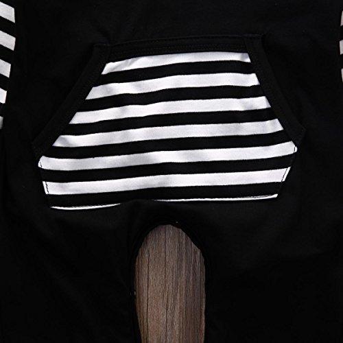 Newborn Baby Girls Boys Stripe Hooded Romper Onesie Jumpsuit (70/ 0-6 Months, Black)