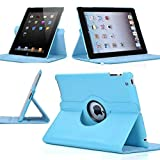 Light Blue 360 Degrees Rotating Stand Leather Case for Ipad 2/3 2nd/3nd Generation
