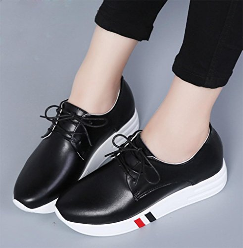 los zapatos del elevador Ms Spring gruesos zapatos escogen los zapatos calzado deportivo de las mujeres ocasionales con cordones corteza del mollete , US6.5-7 / EU37 / UK4.5-5 / CN37