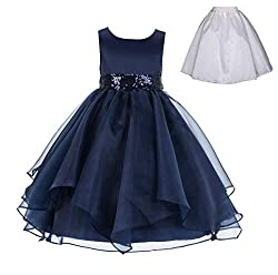 Sequin Ruffles Organza Flower Girl Dress