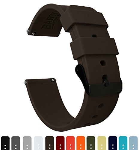 BARTON Silicone - Black Buckle - 16mm, 18mm, 20mm or 22mm - Chocolate Brown 20mm Watch Band Strap Chocolate Watch Band