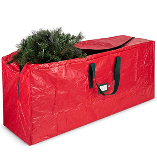 Artificial Christmas Tree Storage Bag - Fits Up to 7.5 Foot Holiday Xmas Disassembled Trees with Durable Reinforced Handles & Dual Zipper - Waterproof Material Protects from Dust, Moisture & Insects (Best Way To Store Christmas Tree Lights)