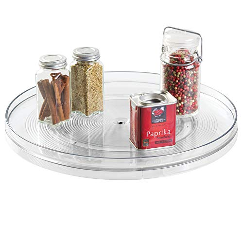 iDesign Linus Turntable Kitchen Organizer, Organization for Pantry, Countertop, Shelf, Table, Vanity, Bathroom, 14 Inches, Clear (Inch Turntable 18 Susan Lazy)