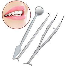 MasterMedi 3pcs Disposable Dental Instruments Teeth Whitening Kit Mirror, Probe, Plier - Set of 5. Best for Travel Dental Kit   Pet Dental Kit   Home Dental Kit