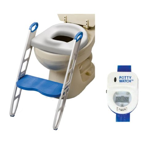 Mommy's Helper Contoured Cushie Step Up with Potty Watch Potty Training Device, Blue (Extra Wide Potty compare prices)
