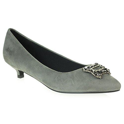 Mujer Bajo Diamante Fiesta Kitten Nupcial Heel Tamaño La Zapatos Gris Noche Boda Corte De Señoras Paseo rrn1Bqf