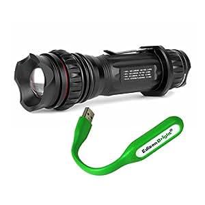 NEBO Redline Select 5620 310 Lumen LED Tactical Flashlight with EdisonBright USB Flexible LED reading Light