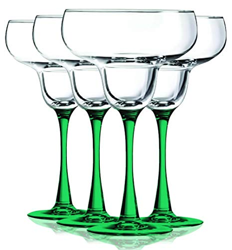Emerald Green Accent Stem 9.5 oz Margarita Wine Glasses – Set of 4 by TableTop King – Additional Vibrant Colors…