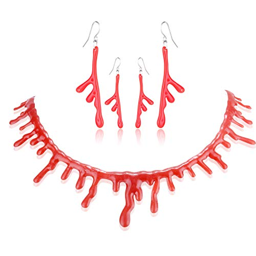 Halloween Bloody Necklace and Earrings Set 1 Pcs Halloween Bloody Dripping Choker Necklace and 2 Pairs Halloween Bloody Drop Earrings,Perfect for Halloween Cosplay Costume Vampire Prop Decoration
